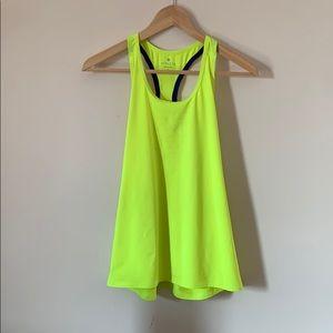 Athleta neon yellow racer back top | size s